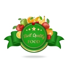 Best quality food label badge with fruits vector