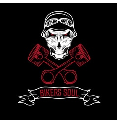 biker theme label with pistons and skulls vector image