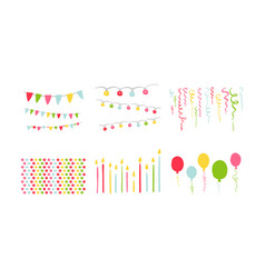 birthday party symbols set colorful carnival vector image