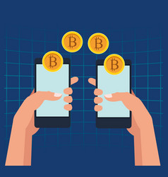 bitcoin cryptocurrency technology vector image