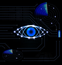 brilliant technological eye hud on a black vector image