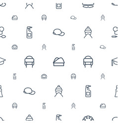 Cap icons pattern seamless white background vector