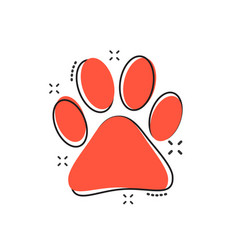 cartoon paw print icon in comic style dog cat vector image