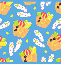 cartoon seamless pattern summer background beach vector image