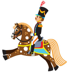 Cartoon soldier riding a horse vector