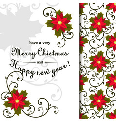 christmas postcard with wreath made of holly berry vector image