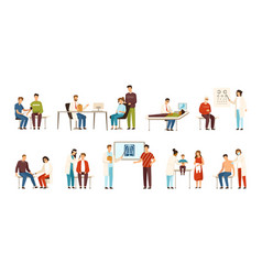 collection people visiting various doctors or vector image