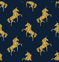 Colorful gold unicorn on blue magical animal vector