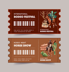 Cowboy ticket design with woman rope cactus chest vector