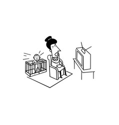 cry baby with mom watching tv bad parenting vector image