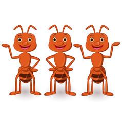 Cute ants cartoon collection set vector
