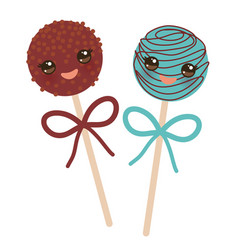 Cute funny kawaii chocolate and blue sweet cake vector
