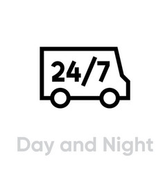day and night delivery truck icon editable line vector image