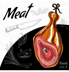 Delicious Ham meaty composition vector