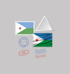 Djibouti flag postage stamp set isolated on gray vector