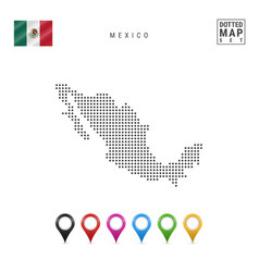 Dotted map mexico simple silhouette mexico vector