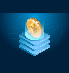 ethereum cryptocurrency digital or electronic vector image