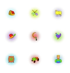 Farm icons set pop-art style vector image