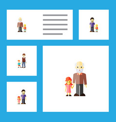 flat icon people set of grandson father son vector image