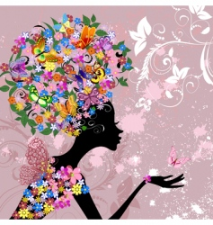 flower lady with butterflies vector image
