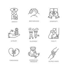 Friendship and support pixel perfect linear icons vector