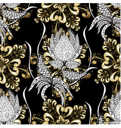 golden pattern on black white and gray colors vector image