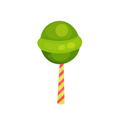 green round lollipop sweet candy on striped stick vector image