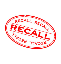 Grunge red recall word oval rubber seal stamp on vector