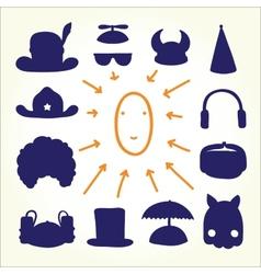 Hand drawn cartoon doodle hats vector