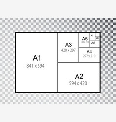 Iinternational a series paper size formats vector