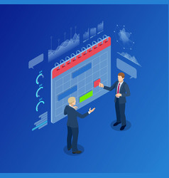 Isometric modern people planning business strategy vector