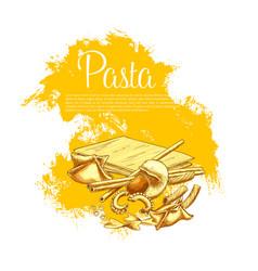 Italian pasta cuisine poster for restaurant vector