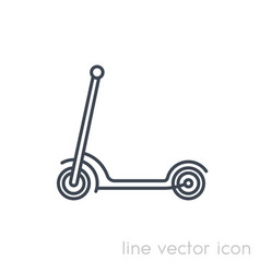 Kick scooter icon on white linear vector