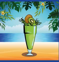 kiwi splashing refreshment drink cartoon splashing vector image