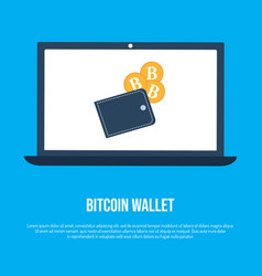 Laptop screen with bitcoin crypto wallet vector