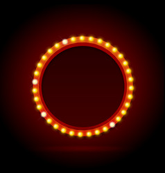 Light bulbs vintage neon glow circle frame vector