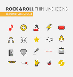 Linear thin line icons with musical instruments vector