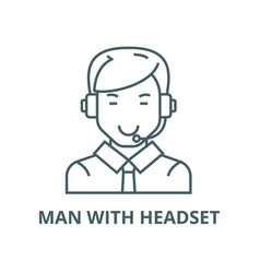 man with headset line icon linear concept vector image