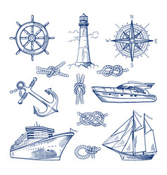 Marine doodles set with ships boats and nautical vector