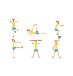 mature man doing morning exercises collection vector image