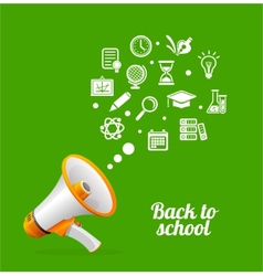 Megaphone and icon Back to school concept vector