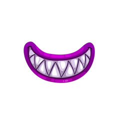 Monster mouth with sharp teeth and purple lips vector