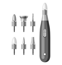 Nail drill and bits for manicure vector