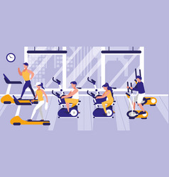People in gym practicing sports vector