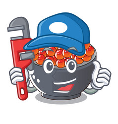 Plumber salmon roe with isolated on mascot vector