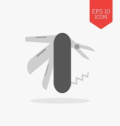 Pocket swiss knife icon Flat design gray color vector image