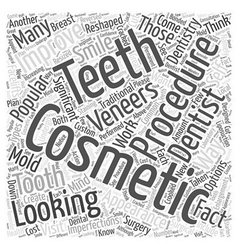 Popular Cosmetic Dentistry Procedures Word Cloud vector