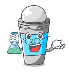 Professor roll on deodorant in cartoon bottle vector