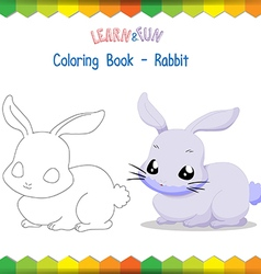 Rabbit coloring book educational game vector image