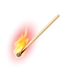 Realistic burning match on white background vector
